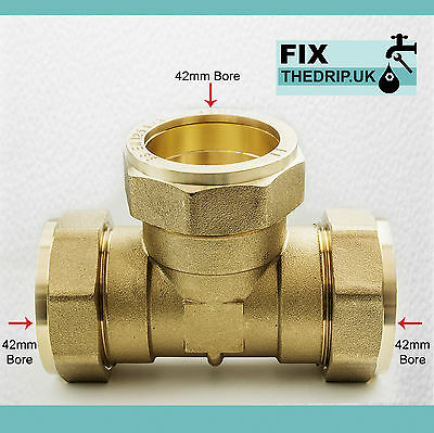 TRADE PACK 2 x FtD 42mm BRASS Equal Compression Tee fitting