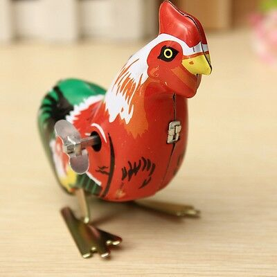 Perfect Collectable Vintage Clockwork Gift Favors Rooster Tin Toys 1 PC