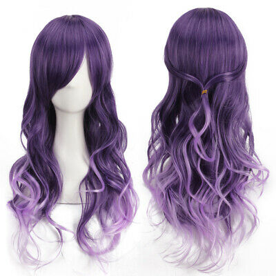 Harajuku Gradient Purple Wig Long Curly Synthetic Wig Comic Cosplay Costume