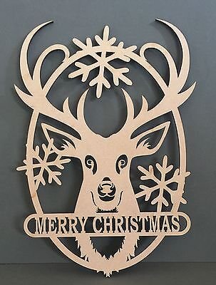 S262 MERRY CHRISTMAS XMAS SANTA RUDOLPH REINDEER MDF Laser Cut Quote Sign Funny