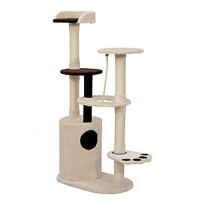 "Pawhut 55"" Kitty Cat Tree Scratching Post Condo Tower Furniture - Beige and Bro"