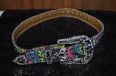 NOCONA Western Girls Kids Leather Belt Rhinestones Multi Color Crochet ~ SIZE 26
