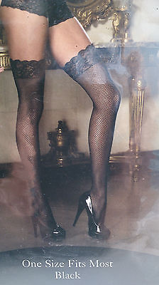 Fishnet Thigh High Stockings, Black, Lace Top, One Size