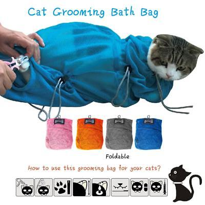 Multi-function Pet Cat Kitten Grooming Bathing Bag Mesh Restraint Bag