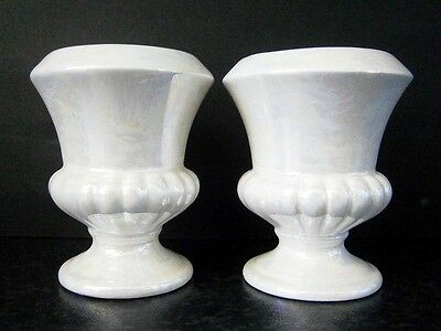 Vintage Japanese China Pair Pearly Lustre Glaze Miniature Urn Vases Candlesticks