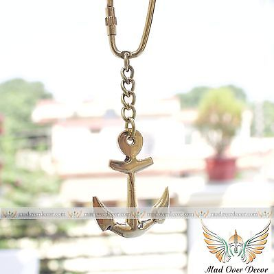Beautiful Vintage Brass Ship Anchor Key Chain Nautical Pirate Marine Gift
