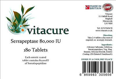 **4 for 3**  180 Serrapeptase High Strength 80,000 IU.  ENTERIC COATED TABLETS