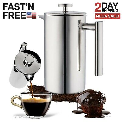 Stainless Steel French Press Coffee Maker Leaf Tea Kettle Pot 32oz Cup 1L Carafe