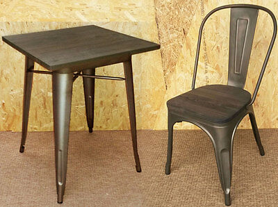 New Tolix Tarnished Metal Chairs & Tables Wooden Seat Retro French Bistro Steel