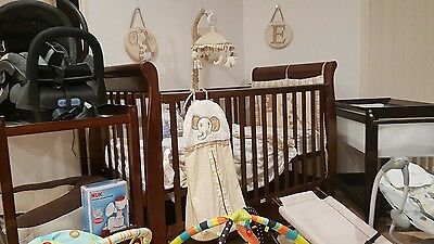 Bulk lot of nursery items furniture cot set change table swing bouncer