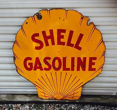 """1929 42 """" Inch Double Sided Porcelain Clam Shell Sign! Dated 1929"""