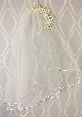 Ivory Wedding Bridal Veil Flower Sequin Beautiful Vintage Elbow Length 26 in