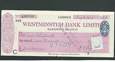 wbc. - CHEQUE - CH1307- USED -1928- WESTMINSTER BANK, SANDWICH