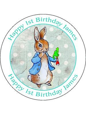 30-90 Pre-Cut Edible Wafer Cup Cake Toppers Vintage Peter Rabbit Personalised