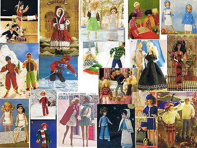 60+ BARBIE SINDY ACTION MAN DOLL FASHION CLOTHES KNIT PATTERNS ON CD Buy2get3