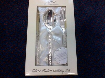 baby silver plated cutlery set new