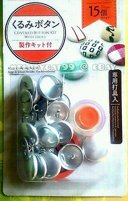"""DIY 22mm (0.9"""") Fabric Covered Button Kit + 15 Buttons, PUSHER TOOL INCLUDED!"""