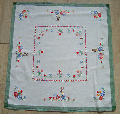 Vintage Easter Embroidered Tablecloth table runner – Happy Bunny & Eggs