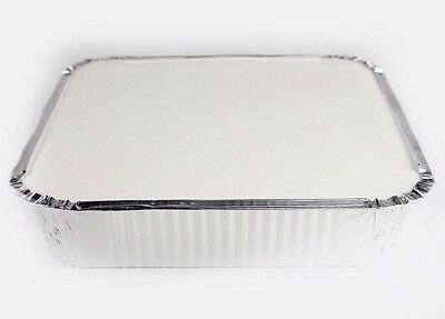"""9"""" x 9"""" x 2"""" LARGE ALUMINIUM FOIL CONTAINERS FOOD TRAYS + HEAVY POLY COATED LIDS"""
