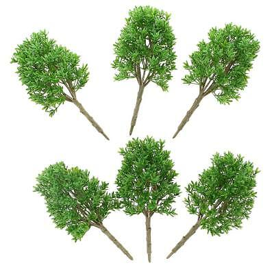 6pcs Plastic 1:30 Scale Model Trees Layout Railroad Street Building Scenery