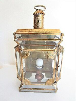 Middle Eastern Wall Hanging Electrical Lantern Brass Glass Turkey Lamp Vintage
