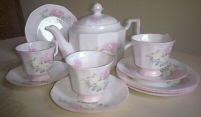 Queens Rosina Superb Vtge Bone-China Pink Floral 2 1/4 Pt Tea Pot 3 Trios +Plate
