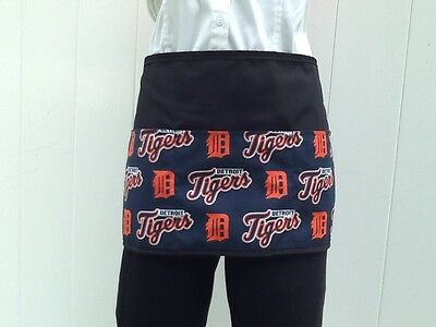 Black Detroit Tigers waitress waist apron 3 pocket restaurant cafe bar