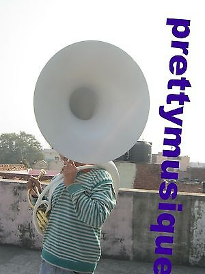 Sousaphone White Of Pure Brass Made +Case+Mouthpc  Fully Functionljust Used Once
