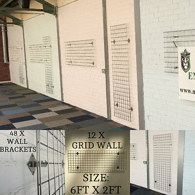 Job Lot Grid wall x 12 6ft x 2ft & 48 x Gridwall Wall Brackets May Deliver Local
