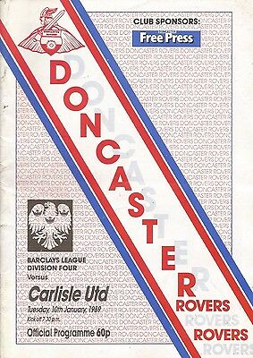 Doncaster Rovers v Carlisle United, 10 January 1989, Division 4