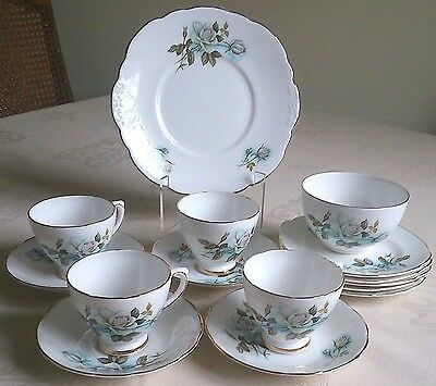 Delphine Elizabethan Exc! Bone China White Rose Tea Set 4 Trios Cake Sugar Jug