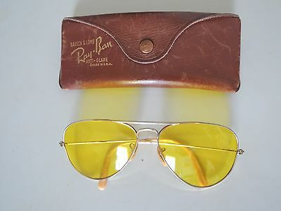 Vintage Bausch Lomb Ray Ban Aviator Anti Glare Sunglasses 1/10 12k GF & CASE