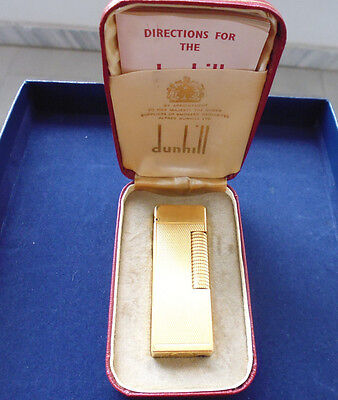 Dunhill Rollagas golplated barleycorn pattern 1960-65 BOX & PAPERS WORK PERFECT