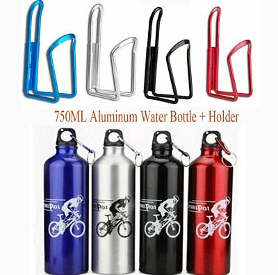 750ml Aluminium Bicycle Bike Water Drink Bottle + Cycling Cage Holder Bracket