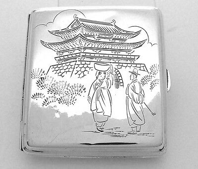 Vintage Japanese 950 Silver Cigarette Case With Man And Woman