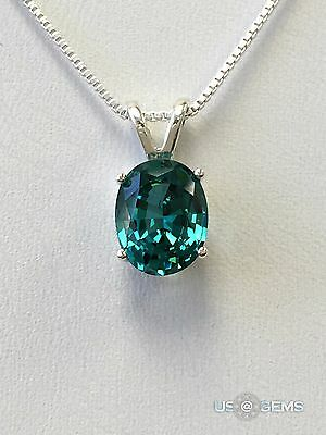 925 Sterling Silver pendant created 3 ct. Tourmaline Paraiba Chain Necklace. @