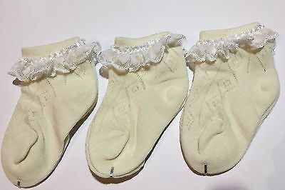 Baby girls seam free soft cotton socks with white lace 1-3 years, 6 pairs