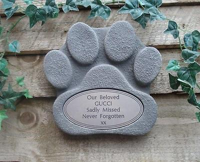 Dog Paw Shape Stone Memorial - Grey with Silver Oval Plaque for Garden / Tree