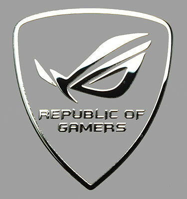 REPUBLIC OF GAMERS  metalissed chrome efect sticker logo badge 27 mm x 30 mm