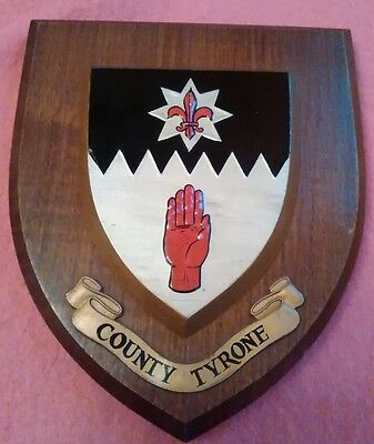 County Tyrone Northern Ireland Hand Painted Oak Crest Shield Plaque