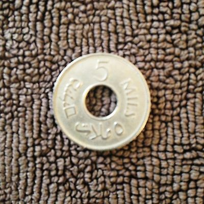 Most rare 5 mils coin british Mandate 1941 Palestine (Israel), key date!