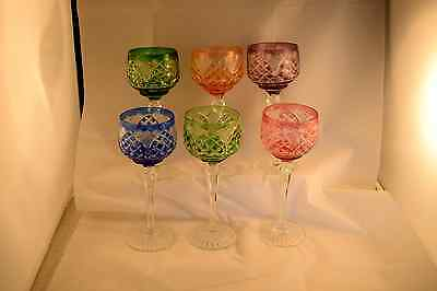 Set of Six Harlequin Cut to Clear Heavy Hock Glasses Extensive Pattern