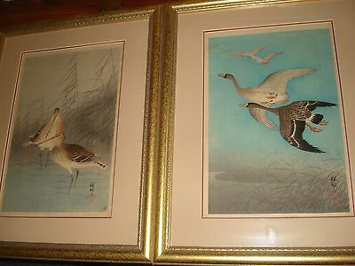 Ohara Koson two framed woodblock prints Ducks & Godwits