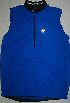 Vintage Descente Atmos Swiss Sleeveless Cycling Jersey Vest Blue Half Zip Race M