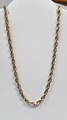 """AWESOME!! HEAVY!! 14K Yellow Solid Gold 3mm 18"""" Diamond Cut Rope Chain 17.8g"""