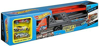 Brand new Hot Wheels Blastin' Rig Includes 3 Cars & Stores 14 toys cars