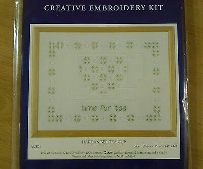 Anchor Creative Embroidery Kit Hardanger Tea Cup Time for Tea