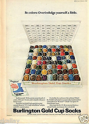 1970 Print Ad of Burlington Gold Cup Socks 80 colors overindulge yourself