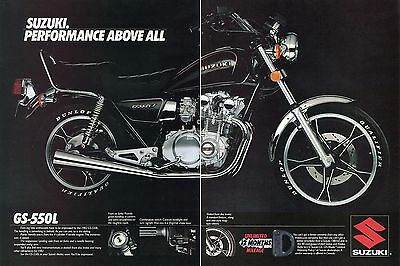 1982 Suzuki GS-550L Motorcycle Performance Above All 2 Page Print Ad