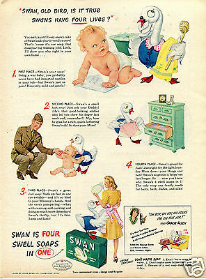 1944 Swan Soap with Gracie Allen WWII Print Ad Swell Soaps